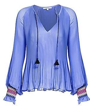 Derek Lam 10 Crosby Women's Helena Pleated Puff-Sleeve Tie-Neck Blouse