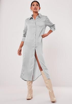 Missguided Blue Lace Trim Satin Maxi Shirt