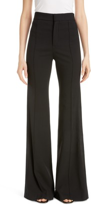 Chloé Side Stripe Pintucked Stretch Wool Flare Pants