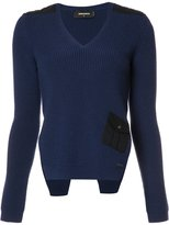 DSQUARED2 v-neck side slit jumper - women - Wool - M