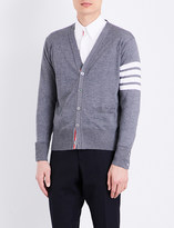 Thom Browne Striped-sleeve merino wool cardigan