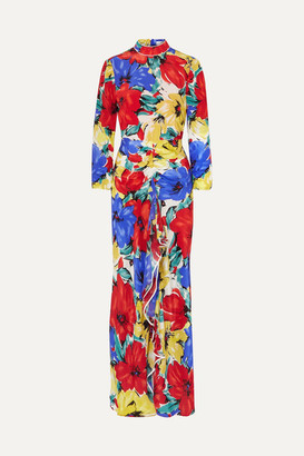 Rixo Lucy Open-back Floral-print Silk Crepe De Chine Dress - Blue