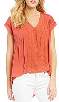 Miss Me Lace Yoke Short-Sleeve High-Low Babydoll Top