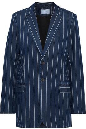 Current/Elliott The Calla Striped Cotton-blend Chambray Blazer