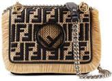 Fendi Kan I Leather-trimmed Embroidered Raffia Shoulder Bag - Beige