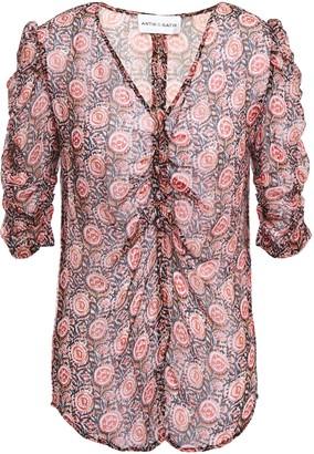 Antik Batik Nikki Ruched Printed Crinkled-georgette Top