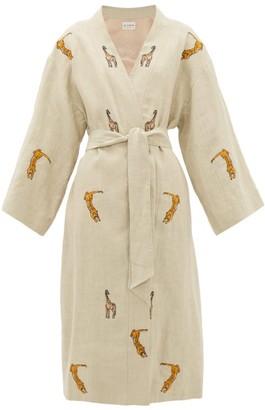 Etro Malva Safari-embroidered Linen Coat - Womens - Ivory Multi