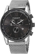 Akribos XXIV Omni Mens Silver-Tone Stainless Steel Mesh Watch