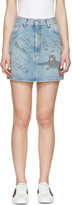 Gucci Blue Denim Scribble Miniskirt