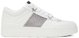 Jimmy Choo White and Silver Hawaii Sneakers