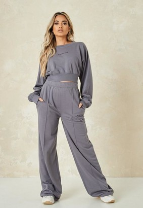 Missguided Charcoal Seam Oversized 90S Wide Leg Joggers