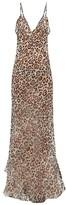 Raey Dip-hem Leopard-print Sheer Silk Slip Dress - Womens - Brown Multi