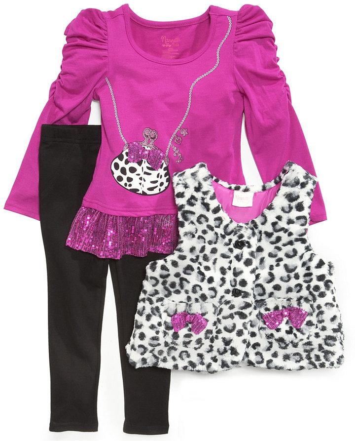 Nannette Kids Set, Little Girls 3-Piece Vest, Top and Pants