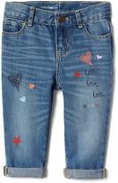 Gap Doodle embroidery girlfriend jeans