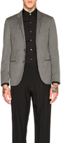 Lanvin Slim Two Button Topstitch Suede Elbow Jacket