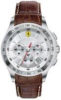 Ferrari 0830044 Men's Scuderia Chronograph Dial Brown Leather Strap Watch