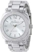 Peugeot Women's 7075S Silver Swarovski Crystal Bracelet Link Watch