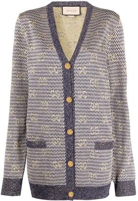 Gucci metallic-thread V-neck cardigan