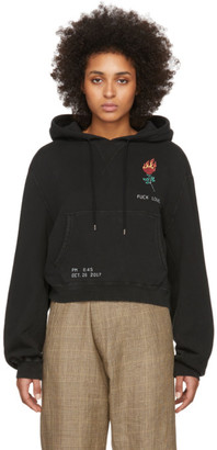 R 13 Black Flaming Rose Cropped Hoodie