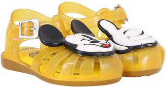 Melissa Yellow Boy Sandals With Colorful Micky Mouse