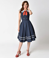 Banned 1940s Style Navy Sleeveless Sailor Aquarius Swing Dress