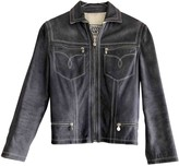 Gianni Versace Grey Leather Jacket for Women Vintage
