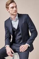 Mens Next Navy Slim Fit Check Suit: Jacket - Blue