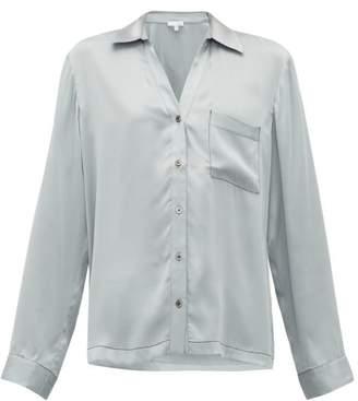 Skin - Teresa Silk-blend Satin Pyjama Shirt - Womens - Light Blue
