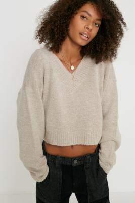 Urban Outfitters Smooch V-Neck Pullover Jumper - black XS at