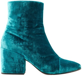 Dries Van Noten Blue Velvet Boots