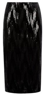 Dorothy Perkins Womens Black Velvet Sequin Pencil Skirt, Black