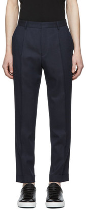 BOSS Navy Single Pleat Cuffed Trousers