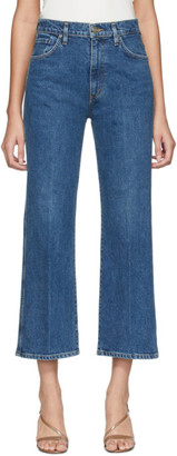 Gold Sign Blue Cropped High Rise Jeans