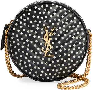 Saint Laurent Vinyle Round Quilted Polka-Dot Crossbody Bag