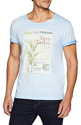 Tom Tailor Men's Washed Tee Print T-Shirt, Soft Charming Blue 6356, Large