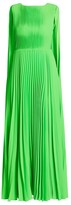 Valentino Sleeveless Plisse Cape-Back Dress