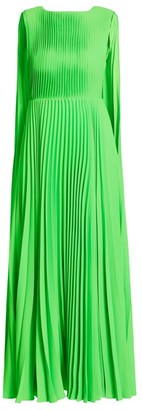 Valentino Sleeveless Plisse Cape-Back Dress