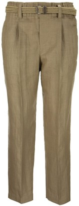 Brunello Cucinelli High Waist Tailored Trousers In Linen Blend Cover