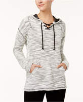 Style&Co. Style & Co Textured Lace-Up Hoodie, Created for Macy's