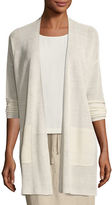 Eileen Fisher Fine Stretch-Linen Crepe Long Cardigan, Plus Size