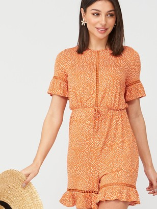 Very Lace TrimPlaysuit - Print
