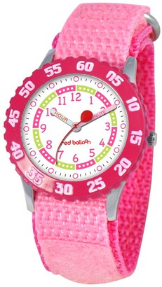 Girl' Red Balloon tainle teel Time Teacher with Bezel Watch - Pink