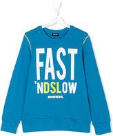 Diesel slogan print sweatshirt - kids - Cotton - 14 yrs
