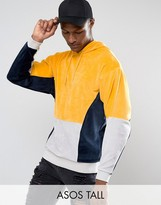 Asos Tall Oversized Cut & Sew Hoodie In Velour