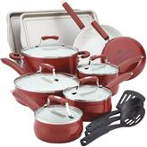 Paula Deen Savannah Collection Aluminum Nonstick 17-Piece Set in Red