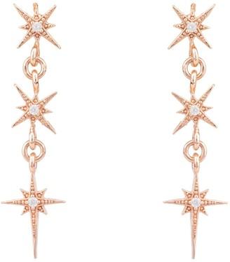 Rosegold Star Burst Triple Drops Earrings