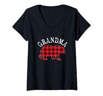 Buffalo David Bitton Womens GRANDMA Bear RED Black Plaid Mama Checker Pattern V-Neck T-Shirt