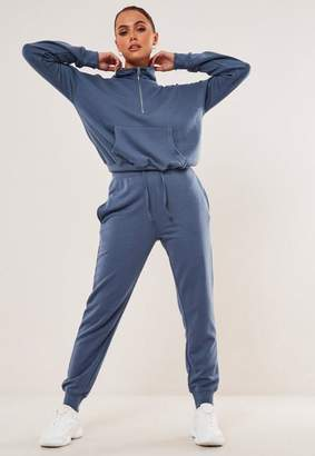 Missguided Blue Zip Front Pocket Jogger Co Ord Set