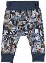 Molo Sammy Animal Collage Track Pants, Blue, Size 12-24 Months
