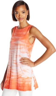 Three Dots Women's Horizon Dye Boatneck Tunic with Side Slits